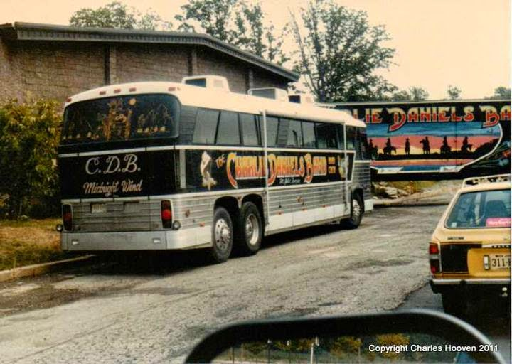 The Fountain Casino rear with the Charlie Daniel's Band Tour Bus and equipment tractor trailor