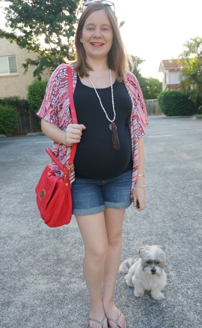 AwayFromBlue | Summer Third Trimester Jeanswest maternity tank denim short red bag kimono