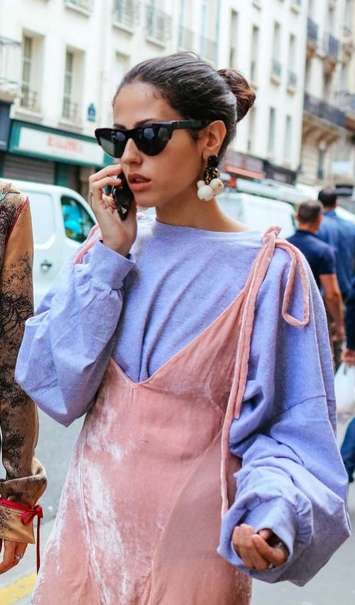 Gilda Ambrosio, Paris Haute Couture Vogue Street Style, Pink Velvet Dress