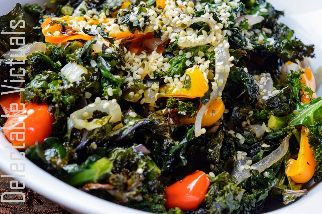 Roasted Kale and Colorful Bell Peppers Warm Salad
