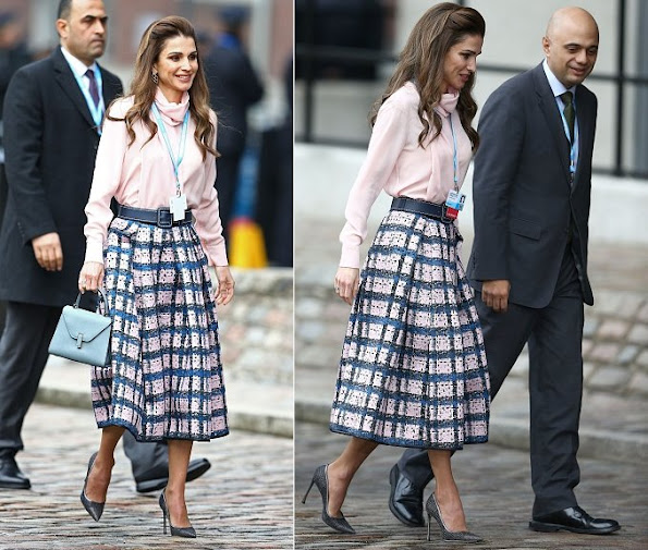 Queen Rania of Jordan arrives at the QEII centre in central London on February 4, 2016, to attend a donor conference entitled 'Supporting Syria and The Region'.