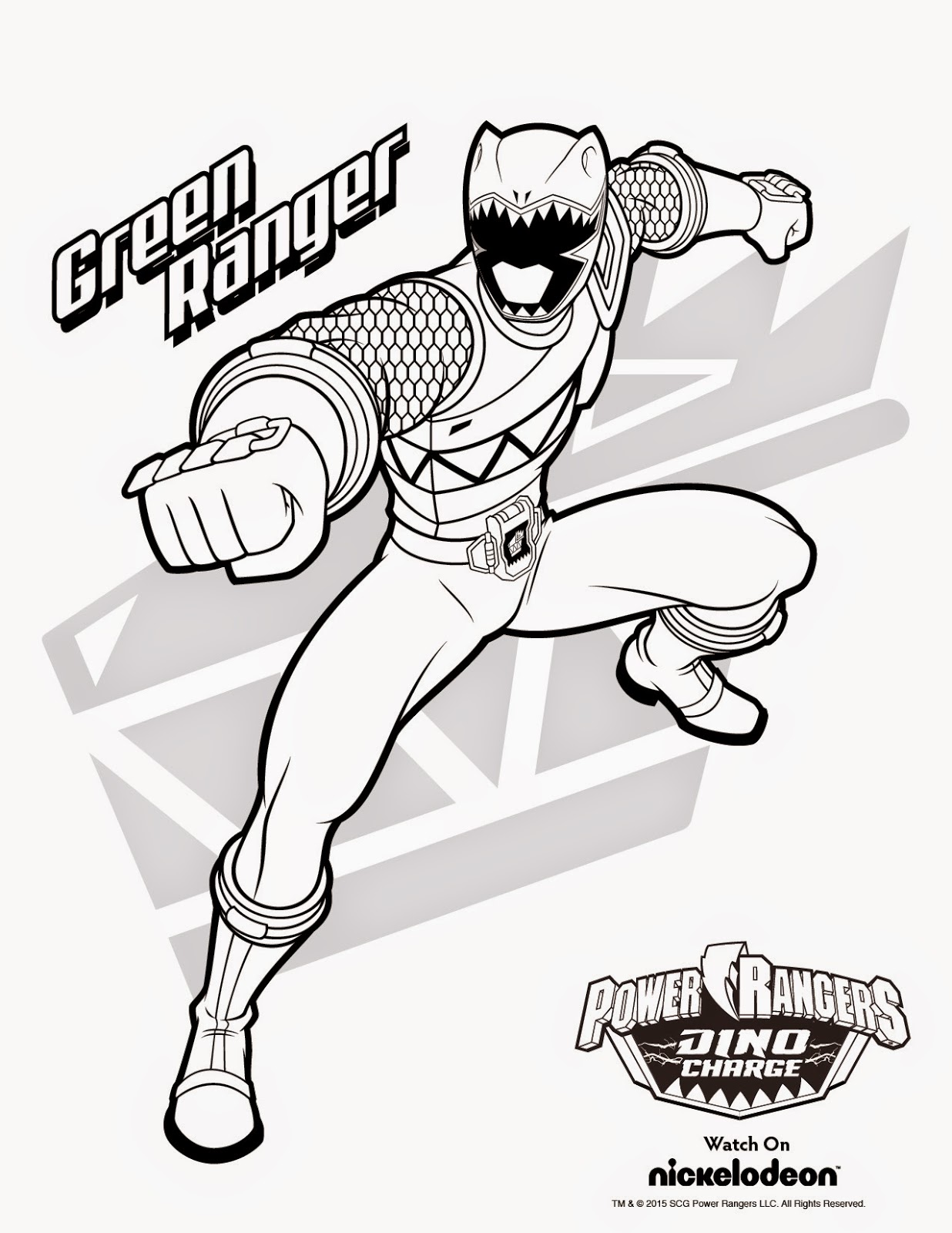 free power ranger coloring pages 3 - Power Rangers Dino Coloring Pages