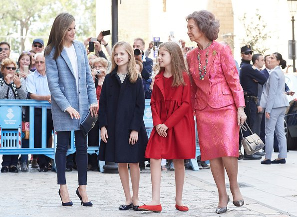 King Felipe, Queen Letizia, Princess Leonor and her sister Sofia and Former Queen Sofia of Spain attended the traditional Mass
