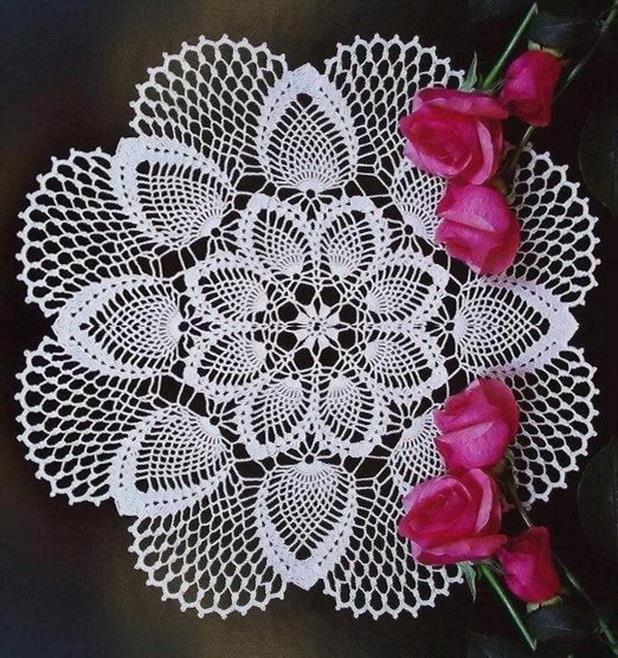 Crochet Doily Pattern - Pineapple doily - lace doily - white round 28 row - no:21