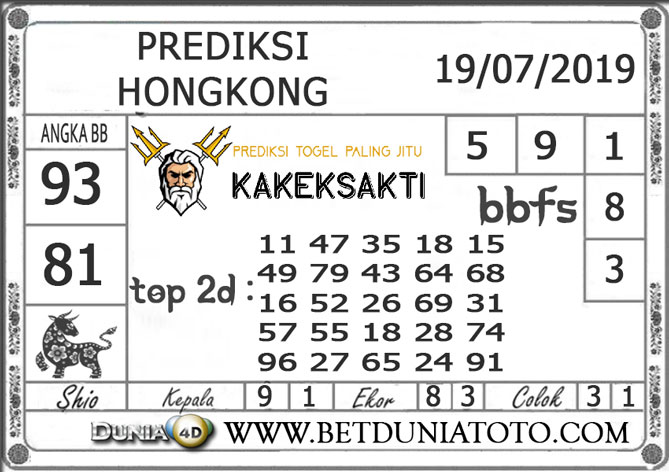 Prediksi Togel HONGKONG DUNIA4D 19 JULI 2019
