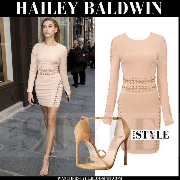 879ca24a0da Hailey Baldwin in blush long sleeve house of cb anuki mini dress with ankle  strap stuart