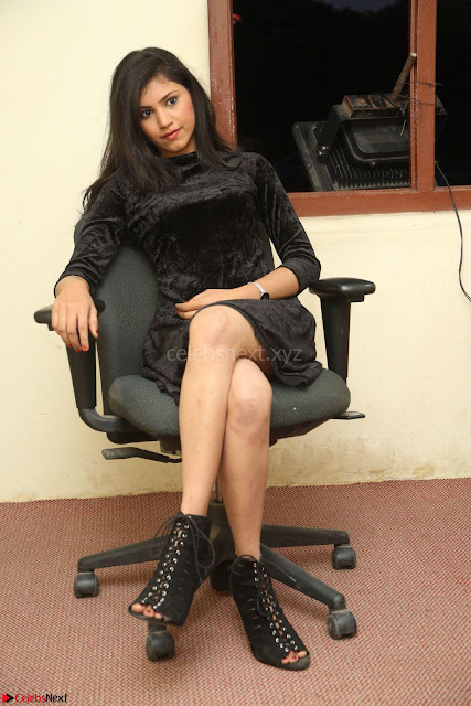 Mounika in a velvet short black dress for Tick Tack Movie Press Meet March 2017 006.JPG