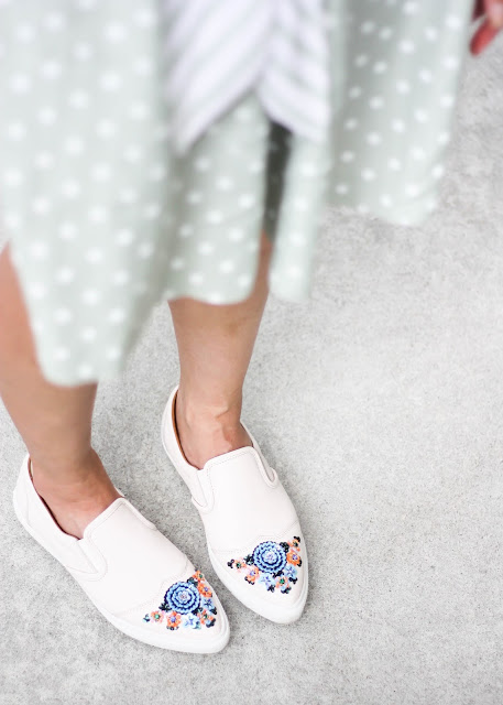 Polka Dot Shorts and Coach White Leather Sneakers