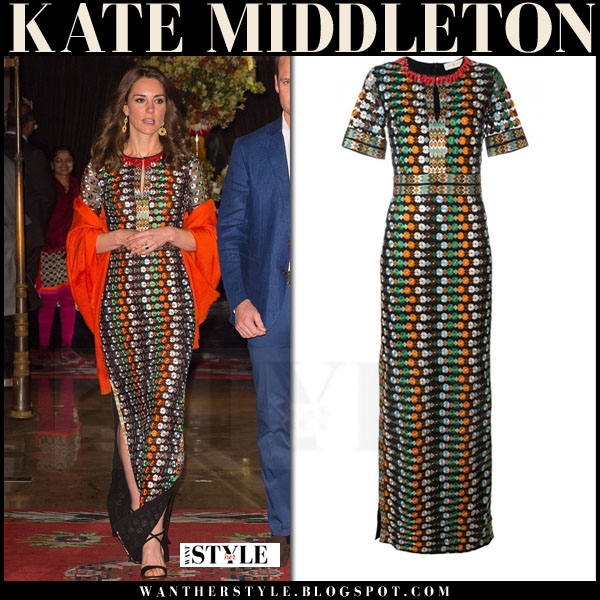 Kate Middleton in multi print tory burch gown with red john lewis wrap what she wore royal visit india 2016