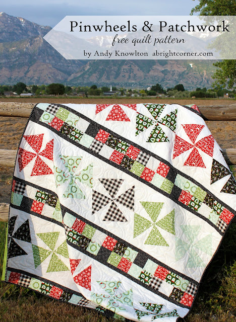 Pinwheels and Patchwork free quilt pattern by A Bright Corner