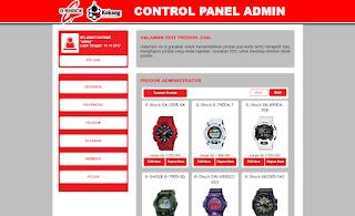 Halaman Control Panel Produk Pada Toko Jam G-Shock