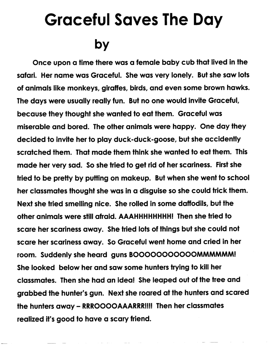 Story writing year 1