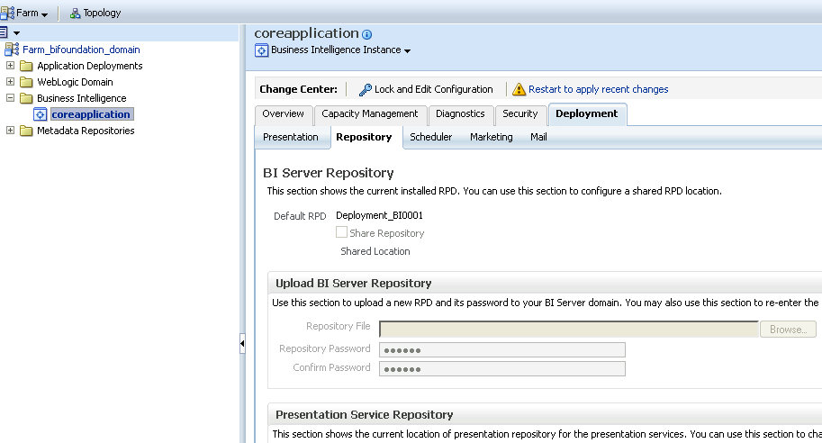 Deploying RPD and Catalog using Enterprise Manger- OBIEE 11G