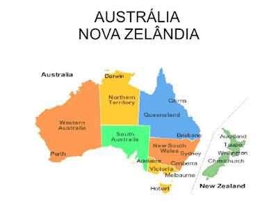 mapa australia e nova zelandia Oceania : Austrália e Nova Zelândia   GEOGRAFIA Newton Almeida mapa australia e nova zelandia