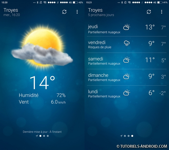 App Android : Météo - Weather (by MacroPinch)