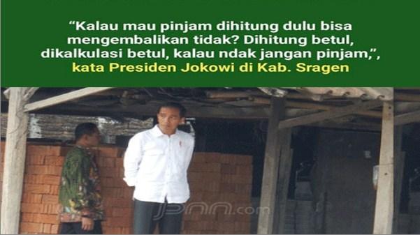 Presiden Jokowi Ingatkan Warga Agar Tak Pinjam Uang ke Rentenir