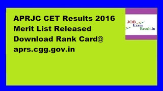 APRJC CET Results 2016 Merit List Released Download Rank Card@ aprs.cgg.gov.in