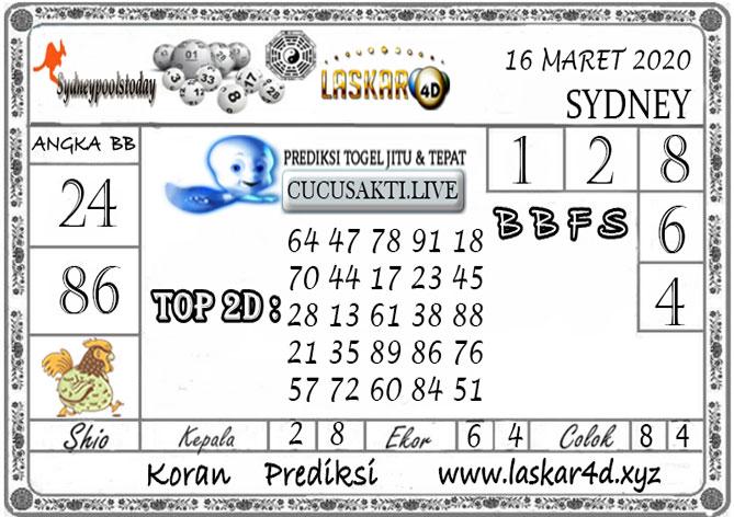 Prediksi Togel SYDNEY LASKAR4D 16 MARET 2020