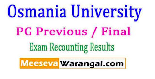 Osmania University (CDE) PG Previous / Final July 2016 Recounting Results