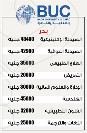 مصاريف جميع الكليات بجامعة بدر 2017 مصروفات الكليات بجامعة بدر (جامعات خاصة)