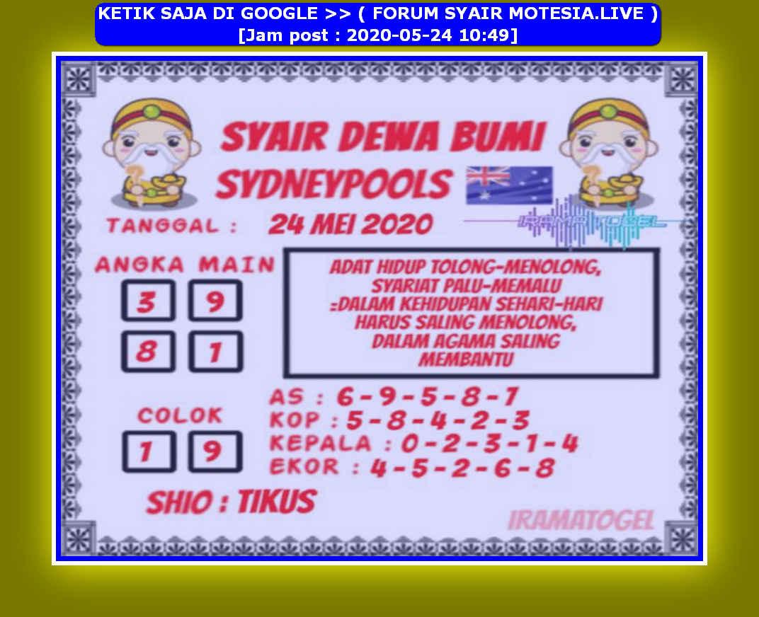Kode syair Sydney Minggu 24 Mei 2020 107