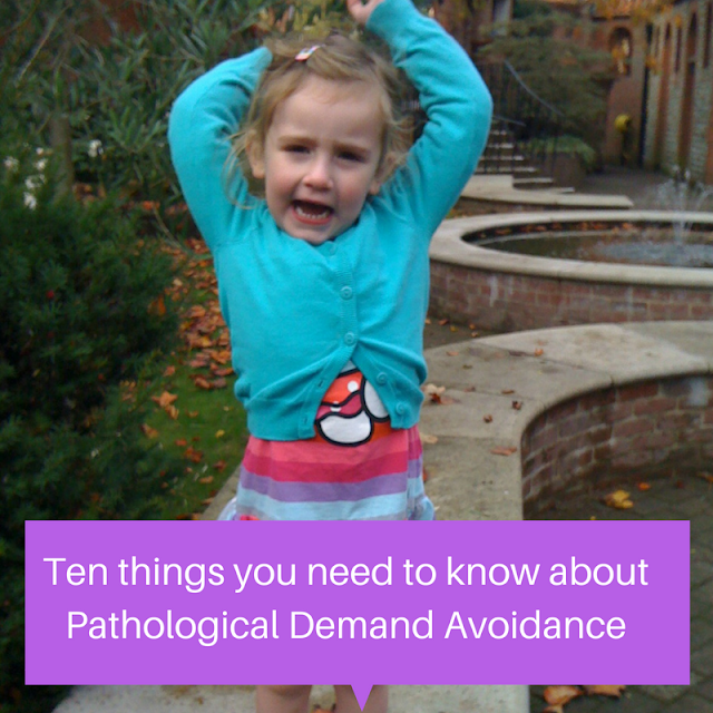 Toddler with arms above head and words Ten things you need to know about Pathological Demand Avoidance