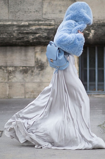Faux Fur Jacket Blue + Silk Gown | Cool Chic Style Fashion