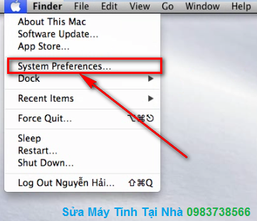 Bấm chuột chọn System Preferences
