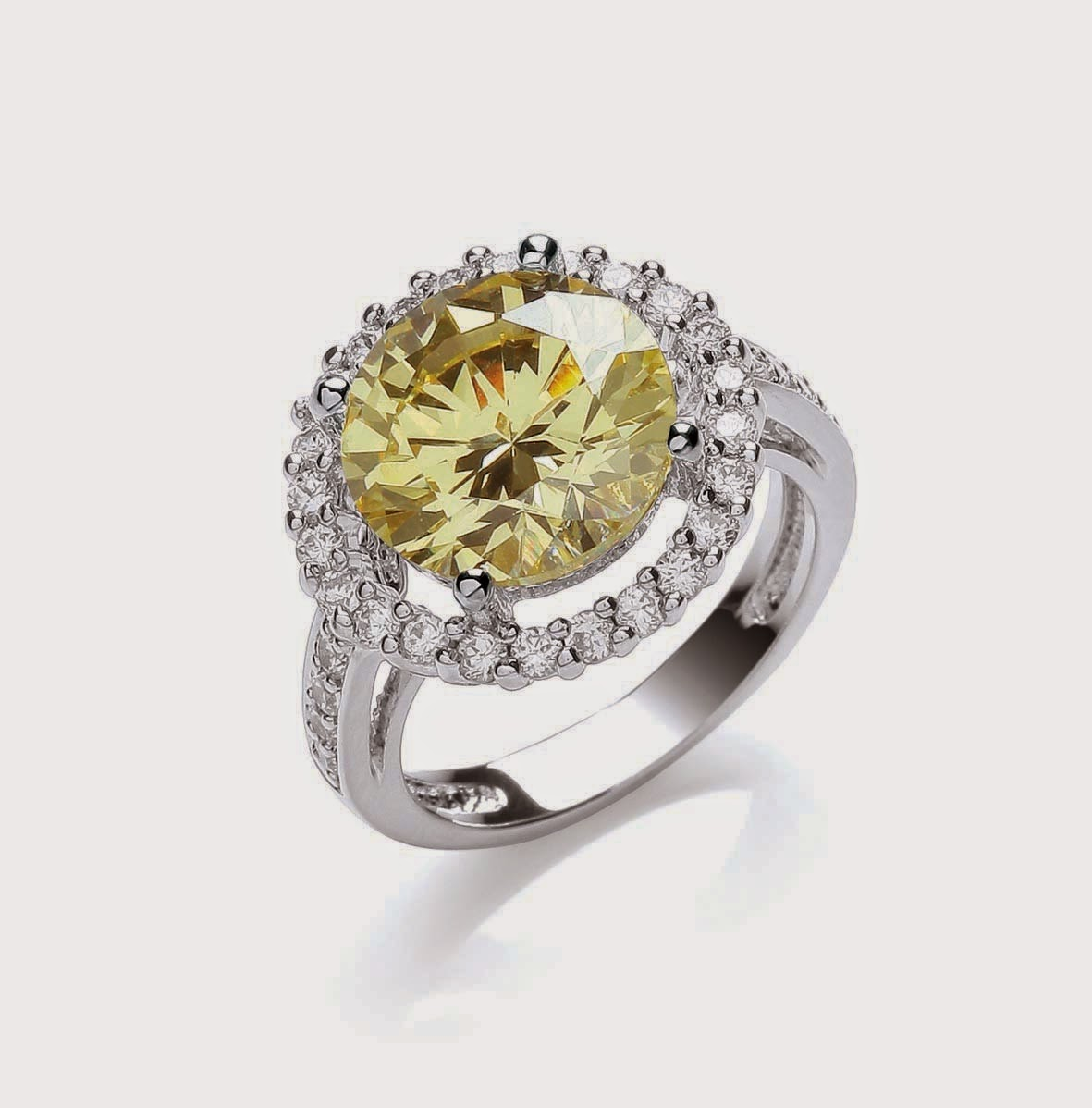Attwood and Sawyer canary diamond-style Knightsbridge Cushion Sparkle Ring