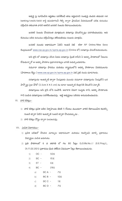 AP Model School Admission Test Notification 2018