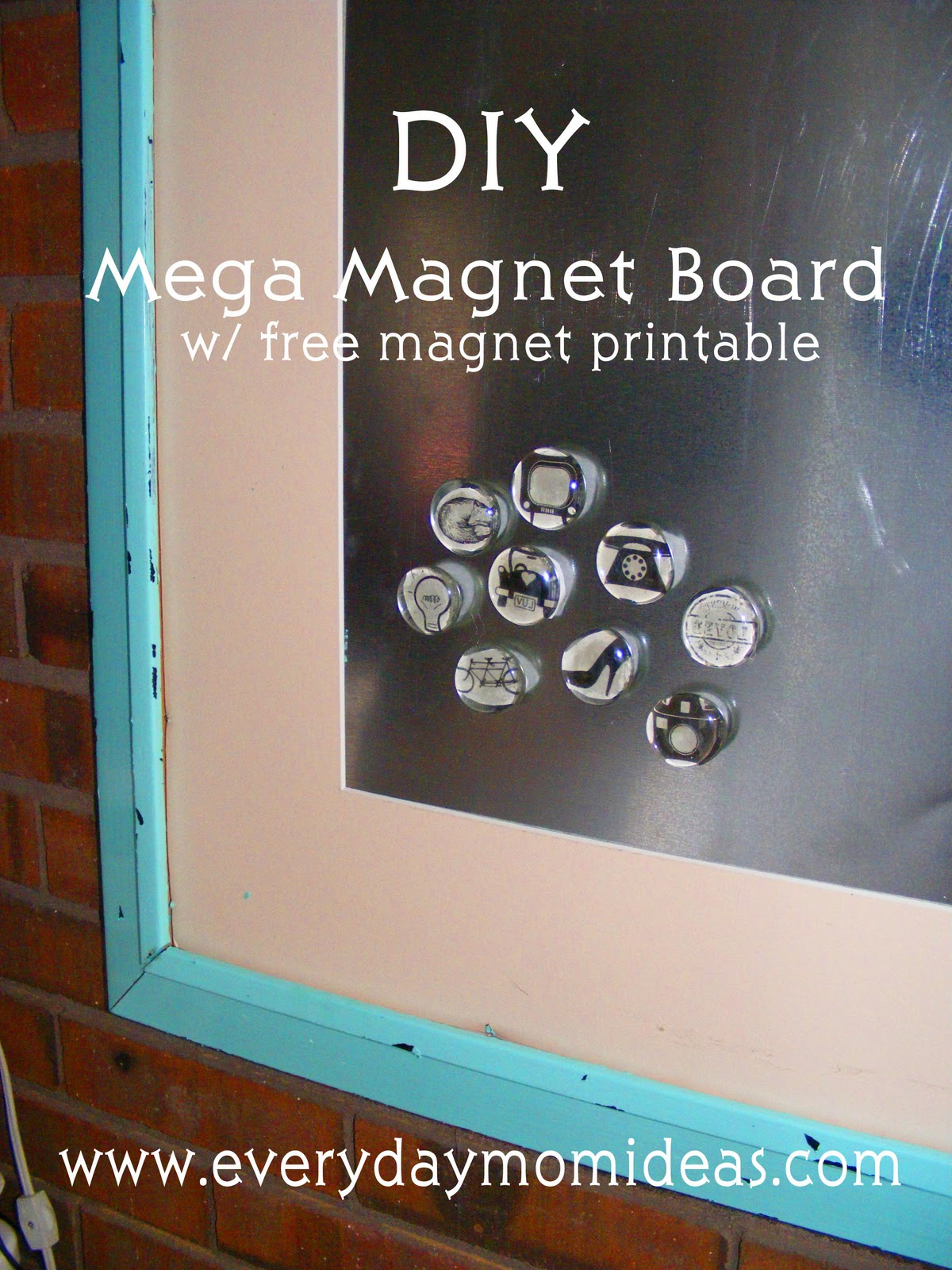 diy mega magnet board with free magnet printable everyday mom ideas