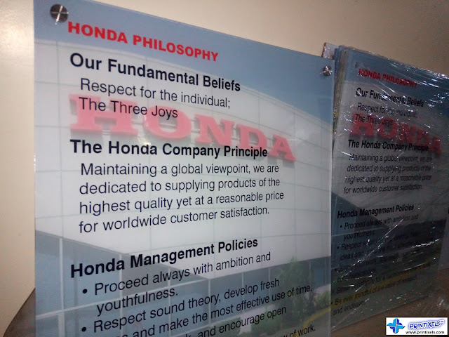 Acrylic Panel Signs - Honda Philippines