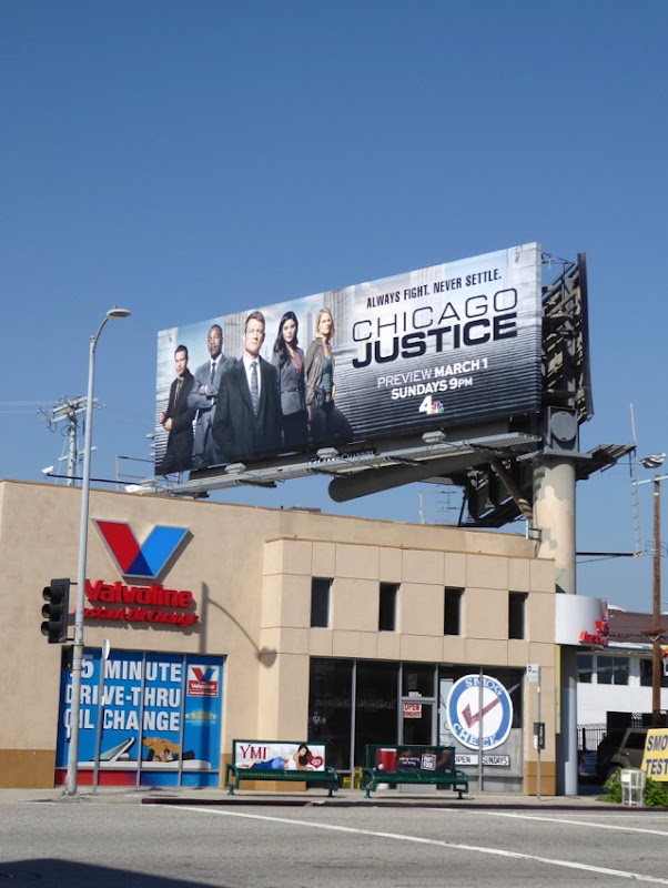 Chicago Justice series launch billboard