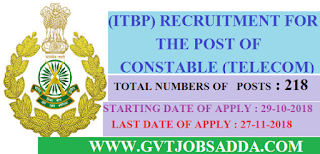 ITBP APPLY ONLINE FOR 218 POSTS