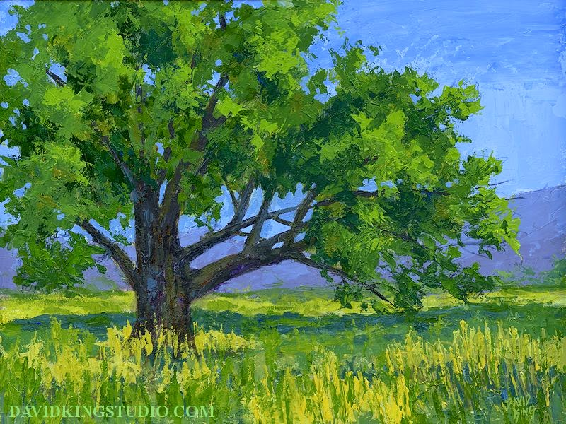 art painting acrylic palette knife landscape tree