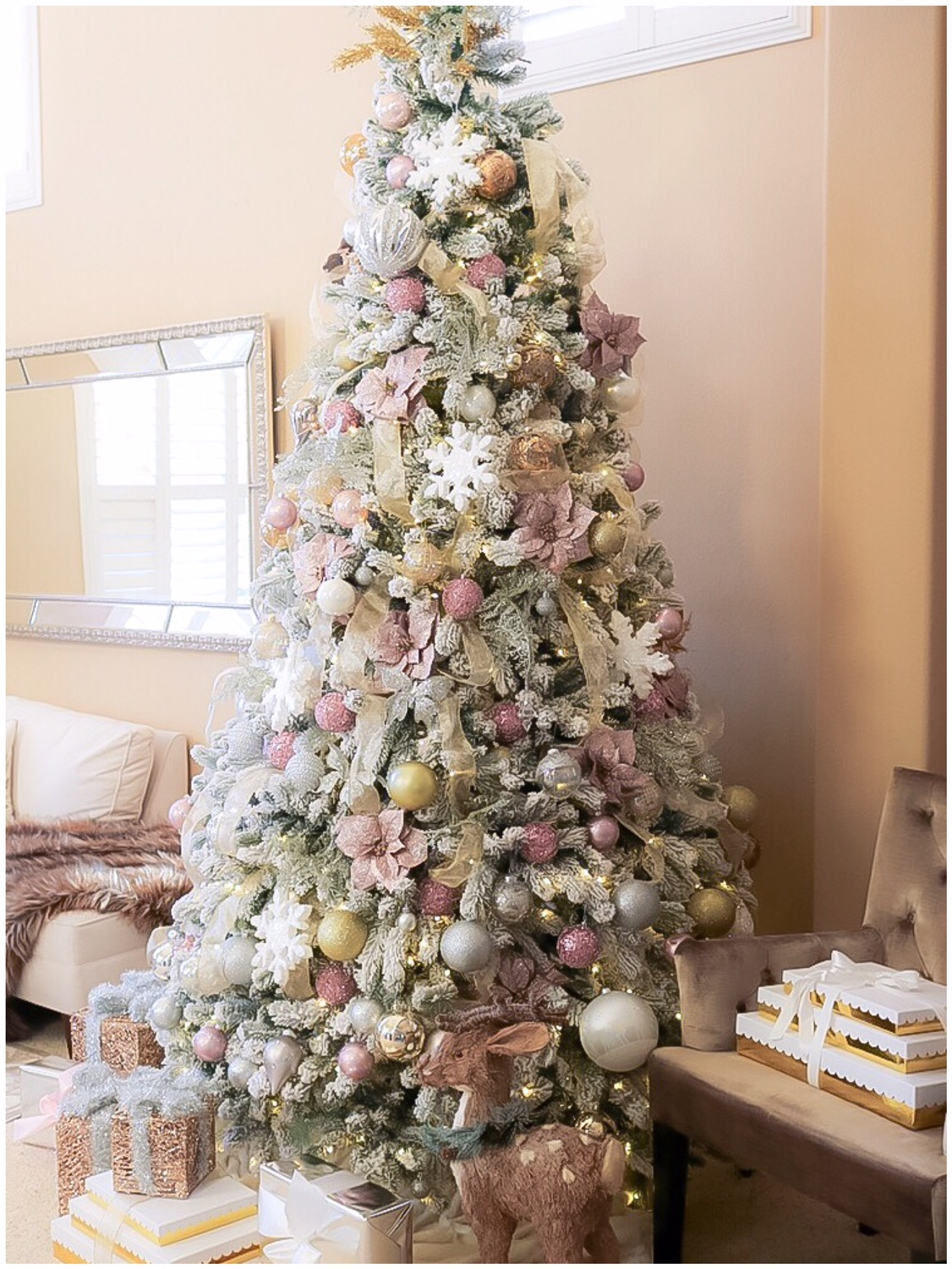 heres a bigger view of my 9 ft flocked christmas tree and im so excited to announce that we have a surprise giveaway just for you
