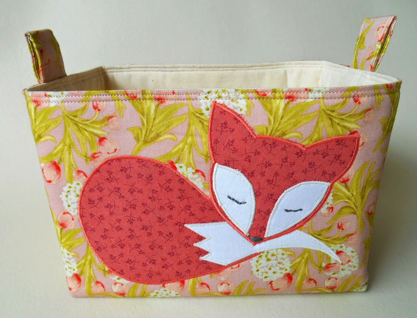 handmade by eva rose: Fox Fabric Basket In Pink with Coral