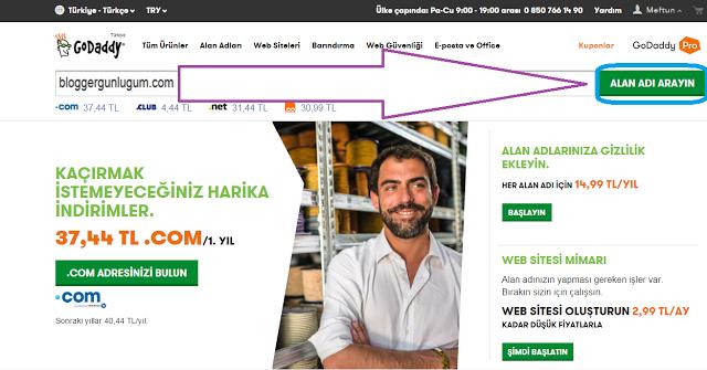 GoDaddy Domain arama