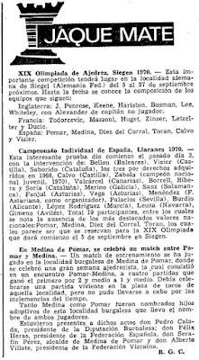 Noticia en Mundo Deportivo sobre el XXXV Campeonato Individual de España de Ajedrez, Llaranes-Avilés 1970