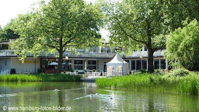 Restaurant Seererrassen, Rückseite, Teich, Pavillon