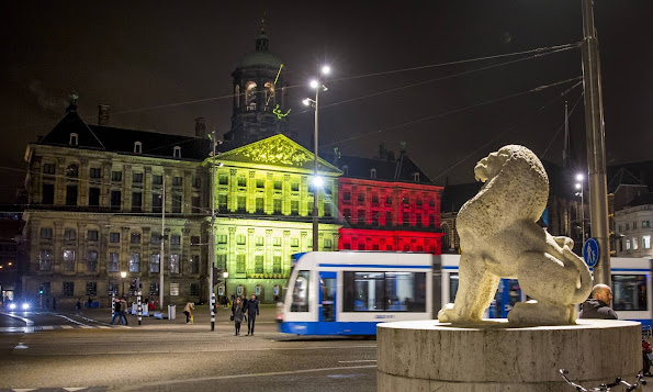 Royal Palace in Amsterdam lighten up with the colors of the Belgian flag as support for the Belgian people after te terror attacks