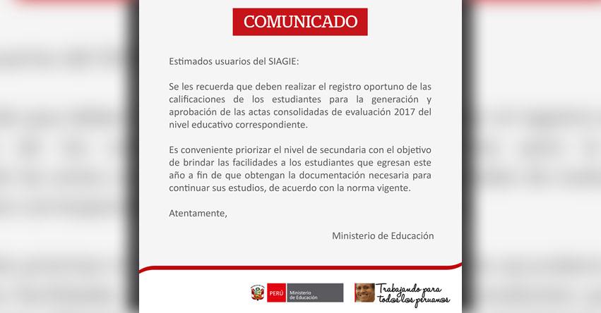 SIAGIE COMUNICADO: Registro oportuno de las calificaciones - MINEDU - www.siagie.minedu.gob.pe