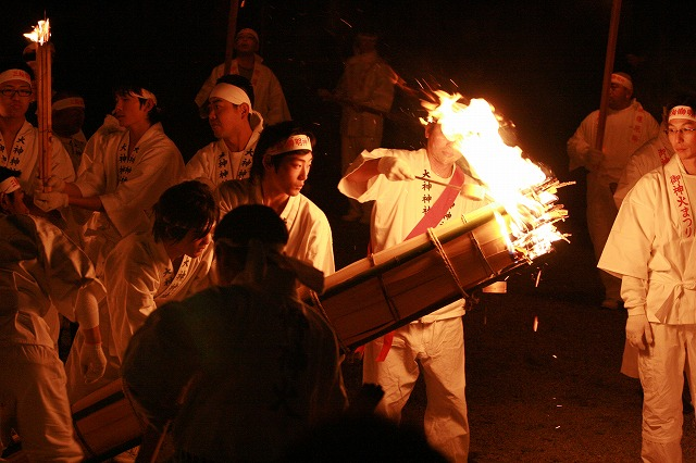 Nyoudousai (Fire Festival) at Oomiwa Shrine, Sakurai City, Nara Pref.