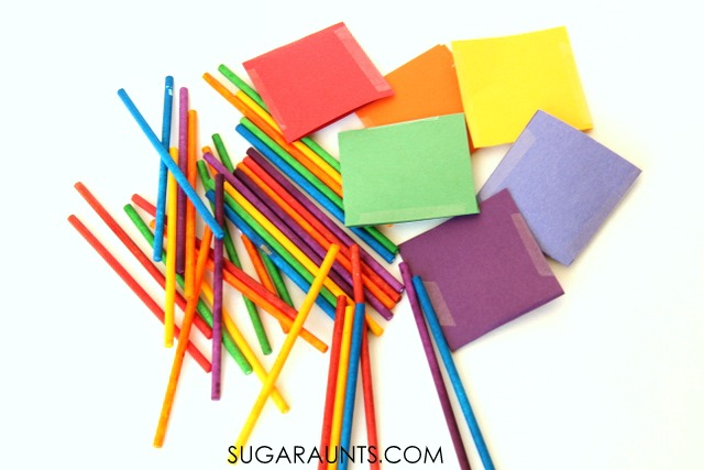 Rainbow dyed lollipop sticks color sorting busy bag for kids.  This is perfect for a quiet time activity.