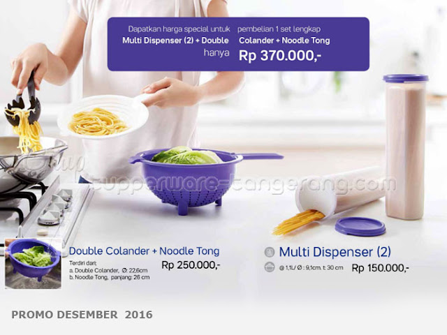 Paket Multi Dispenser & Double Colander Noodle Tong Promo Tupperware Desember 2016