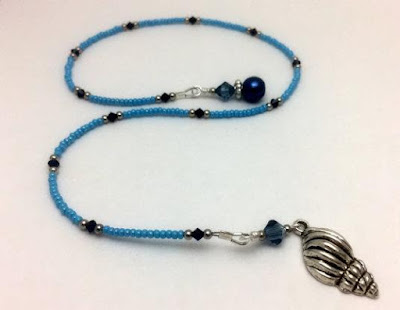 Blue Beaded Bookmark