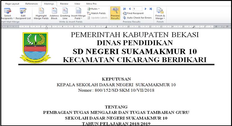 Sk Pembagian Tugas Mengajar Tahun 20192020 Dengan Mail