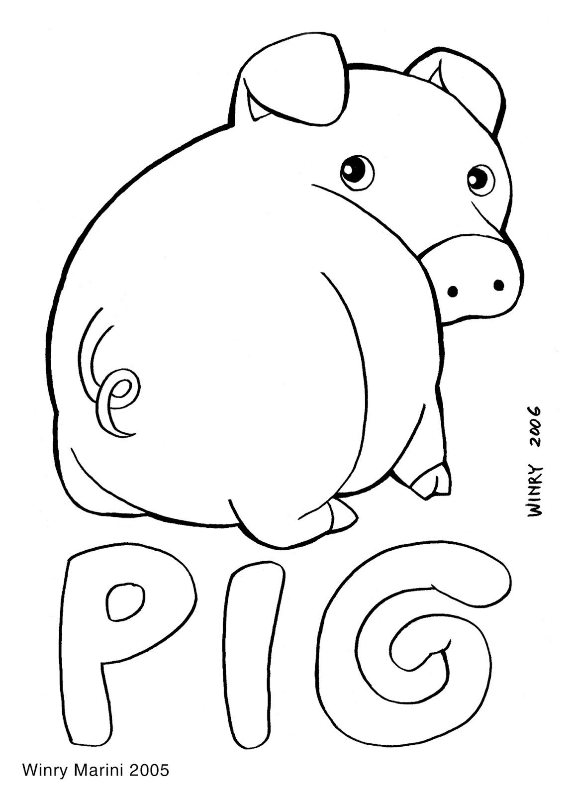 Art And Lore Pig Coloring Page Mewarnai Babi