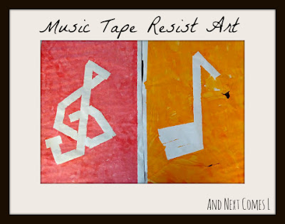 Music tape resist art, just one of many music activities from And Next Comes L