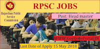 Rajasthan Public Service Commission Recruitment 2018- 1200 Head master